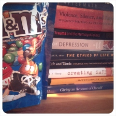 I was actually eating M&Ms while doing my research on sexual violence yesterday. An unhappy coincidence.
